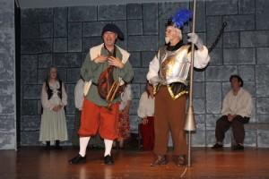 Paul Ballard (left) as Sancho Panza and Michael Hullet (right) as Don Quixote in Man of La Mancha