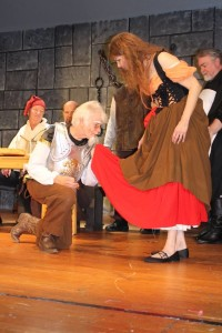 Michael Hulett (left) as Don Quixote and Ruth Hulett (right) as Aldonza in Man of La Mancha