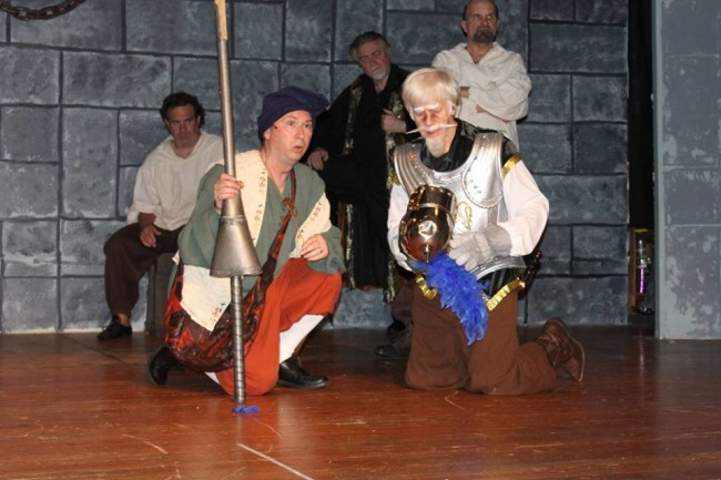 Paul Ballard (left) as Sancho Panza and Michael Hulett (right) as Don Quixote in Man of La Mancha