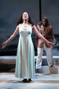 Jennie Greenberry (left) as Marina and Cedric Lamar (right) as Leonine in Pericles at Folger Theatre