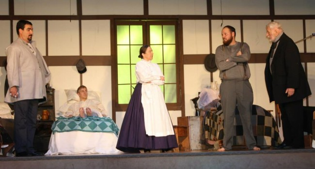 (L to R) Richard Pardoe as Yancy, Robert Scott Hitcho as Samuel Chandler, Cristine Fluke as Nurse Alexander, and Jonathan Scheffenacker as George Abernathy