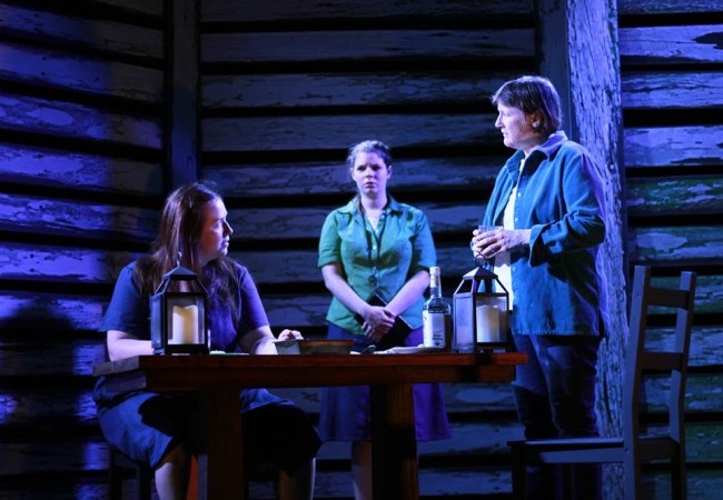 (L to R) Katie Hileman (Lorna), Erin Hanratty (Kylie), and Susan McCully (Agatha) in Kerrmoor
