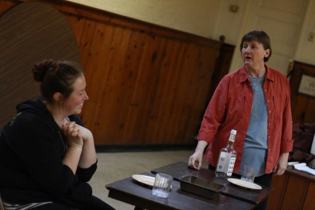 Katie Hileman (left) and Susan McCully (right) rehearsing for Kerrmoor