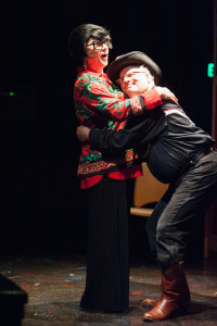 Jim Hart (left) as Bertha Bumiller and Glen Charlow (right) as Arles Struvie in A Tuna Christmas at Spotlighters Theatre