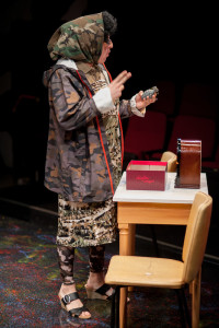 Adam Abruzzo as Didi Snavely in A Tuna Christmas at Spotlighters Theatre