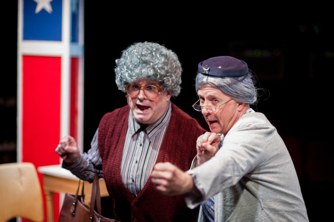 Glen Charlow (left) as Dixie DeBerry and Jim Hart (right) as Aunt Pearl Burras in A Tuna Christmas at Spotlighters Theatre