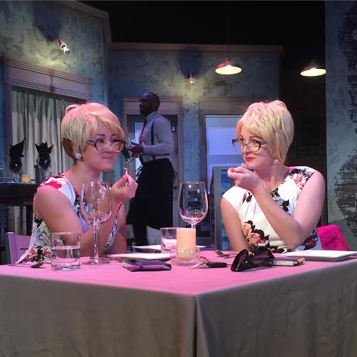 Mary Beth Kerley (left) as Joanie and Savannah Chamberlain (right) as Suzanne Falmagne in Voracious at UMBC
