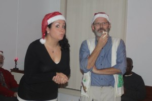 Lauren Giglio (left) and William Dean Leary (right) in rehearsal for A Christmas Carol at Wolf Pack Theatre Company