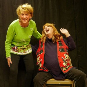 Rhonda Lynn (L- Kathryn Huston) and Frankie Futrelle Dubberly (R- Barbara Webber) share a moment's hysteria in Christmas Belles at Bowie Community Theatre