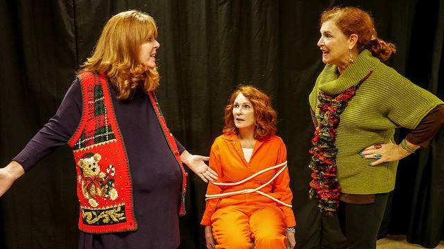 The Futrelle Sisters of Fayro, Texas: The Fertile Frankie (Barbara Webber, left) The Felon Twink (Edye Smith, center) and The Flirt Honey Raye (Nina Harris, right) in Christmas Belles
