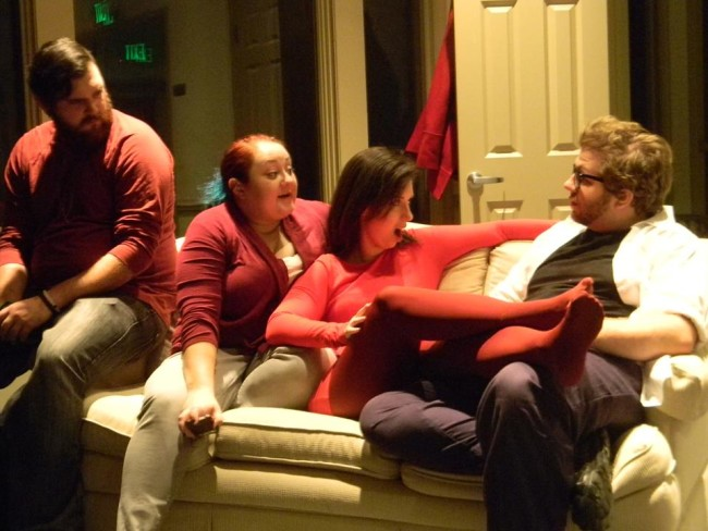 (L to R) Anthony Chanov as Diamond, Jennifer Hasselbusch as Spade, Victoria Scott as Heart, and Joshua Fletcher as Club in Circle Circle Dot Dot at BOOM Theatre Company