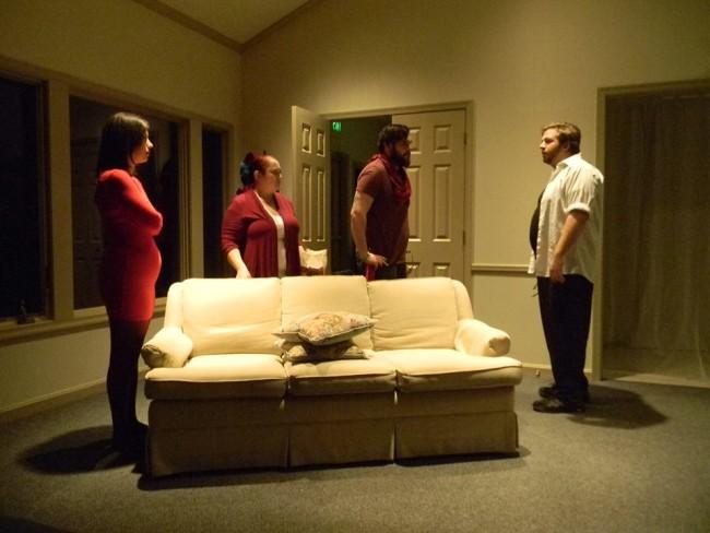 (L to R) Victoria Scott as Heart, Jennifer Hasselbusch as Spade, Anthony Chanov as Diamond, and Joshua Fletcher as Club