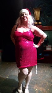 Tapitha Kix, Producer of Twisted Knickers Burlesque at the end of Calendar Girls at Yellow Sign Theatre