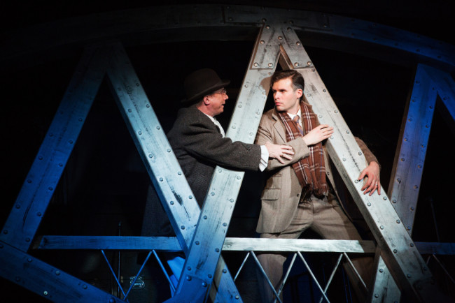David James (left) as Clarence and Matthew Schleigh (right) as George Bailey in It's a Wonderful Life: The Musical