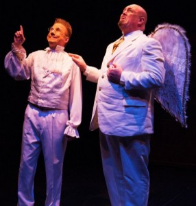 David James (left) as Clarence and David Bosley-Reynolds (right) as Joseph in It's a Wonderful Life: The Musical