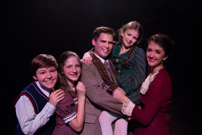 (L to R) The Bailey Family: Jace Franco as Pete, Caroline Otchet as Janey, Matthew Schleigh as George, Lilianna Robinson as Zuzu, and Katie Keyser as Mary in It's a Wonderful Life: The Musical