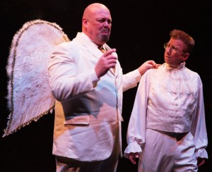 David Bosley-Reynolds (left) as Joseph and David James (right) as Clarence in It's a Wonderful Life: The Musical