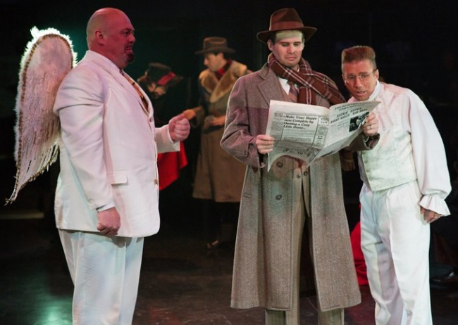 David Bosley-Reynolds (left) as Joseph, Matthew Schleigh (center) as George Bailey, and David James (right) as Clarence in It's a Wonderful Life: The Musical