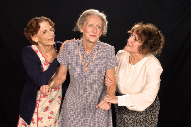 Carol Cohen (left) as Ida Bolton, Dianne Hood (center) as Aaronetta Gibbs, and Sharie Lacey Valerio (right) as Esther Crampton in Mornings at Seven