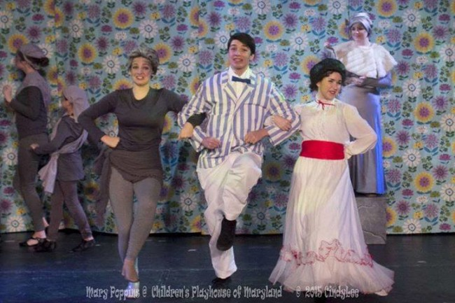 "Rachel Miller (left) as Neleus, with Charlie Holt (center) as Bert, and Ilyssa Rubin (right) as Mary Poppins dancing through ""Jolly Holiday"" in Mary Poppins at Children's Playhouse of Maryland"