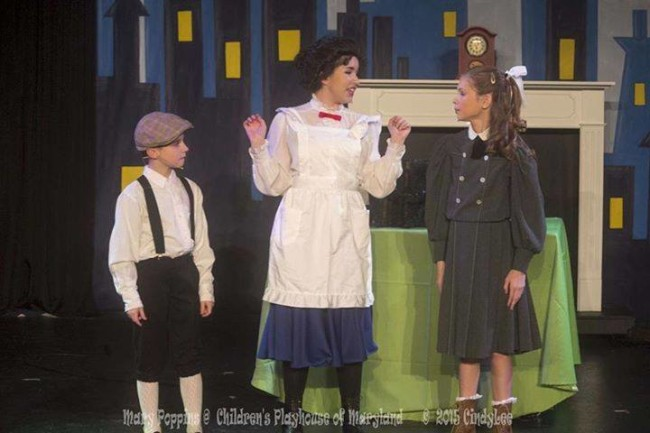 Sammy Jungwirth (left) as Michael Banks, Ilyssa Rubin (center) as Mary Poppins, and Madi Heinemann (right) as Jane Banks in Mary Poppins at Children's Playhouse of Maryland