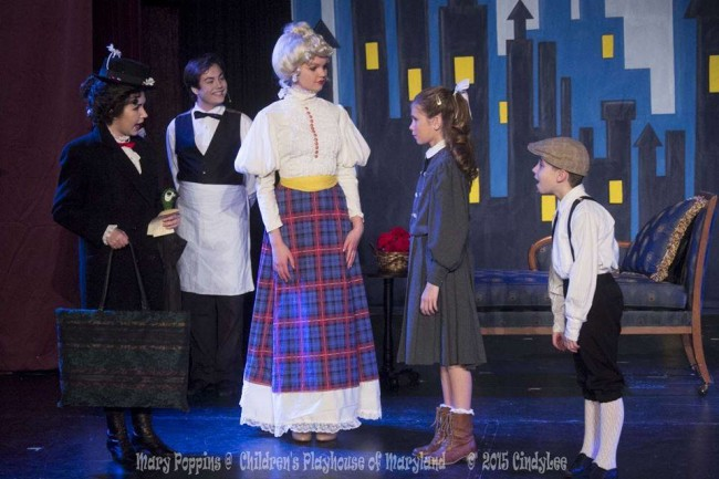 (L to R) Ilyssa Rubin as Mary Poppins, Will Foohey as Robertson Ay, Claire Iverson as Mrs. Banks, Madi Heinemann as Jane, and Sammy Jungwirth as Michael in Mary Poppins