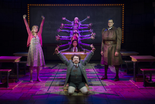 """Bruce"" - Jennifer Blood (Miss Honey), Evan Gray (Bruce), Bryce Ryness (Miss Trunchbull), Gabby Gutierrez (Matilda Wormwood) and The Company of Matilda The Musical National Tour"