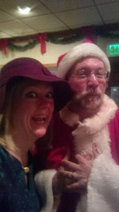 Selfies with Elfies- featuring TheatreBloom Reviewer Amanda Gunther (left) and Stephen Kirkpatrick (right) as Santa Claus in Dead Ringer