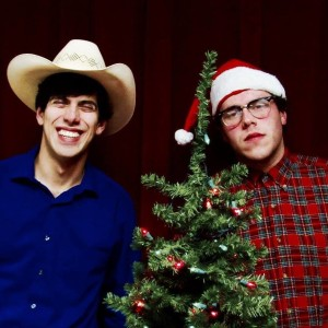 Dillon DiSalvo (left) as Arles Struvie and Thomas DiSalvo (right) as Thurston Wheelis in A Tuna Christmas