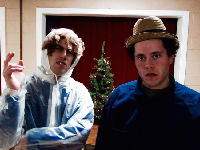 Dillon DiSalvo (left) as Didi Snavely and Thomas DiSalvo (right) as R.R. Snavely in A Tuna Christmas