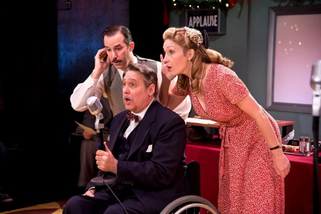 (L to R) Nick DePinto, Rob McQuay, and Sally Boyett in It's a Wonderful Life: A Live Radio Play