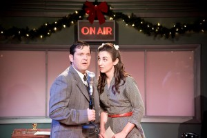 Kevin Alan (left) as George Bailey and Teresa Spencer (right) as Mary Hatch in It's a Wonderful Life: A Live Radio Play