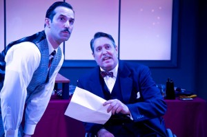 Nick DePinto (left) as Harry Heywood and Rob McQuay (right) as Freddie Filmore in It's a Wonderful Life: A Live Radio Play