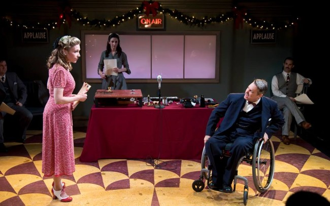 Sally Boyett (foreground left) and Rob McQuay (foreground right) in It's a Wonderful Life: A Live Radio Play