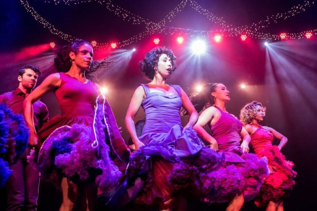 Michael Graceffa (Indio), Ilda Mason (Francisca), Natascia Diaz (Anita), Katie Mariko Murray (Rosalia), and Olivia Ashley Reed (Consuelo) in West Side Story at Signature Theatre