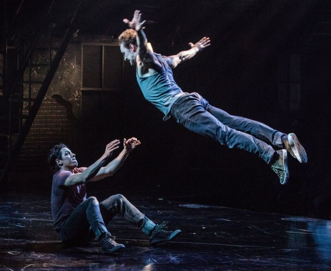 Ryan Sellers (Pepe) and Ryan Fitzgerald (Action) in West Side Story at Signature Theatre.