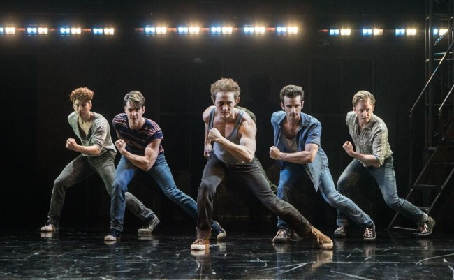 J. Morgan White (Snow Boy), Joseph Tudor (Baby John), Tony Neidenbach (Big Deal), Ryan Fitzgerald (Action), Kurt Boehm (Diesel) and Ryan Kanfer (A-Rab) in West Side Story at Signature Theatre