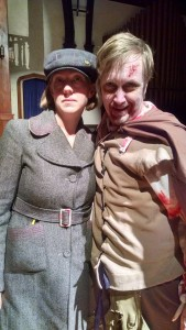 TheatreBloom Reviewer Amanda Gunther (left) with Jonas David Grey (right) as Zombie-Shakespeare in The Complete Deaths of William Shakespeare