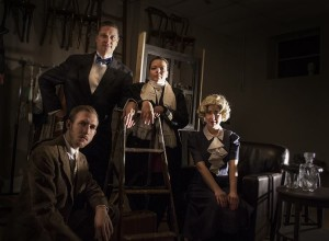 (L to R) Grayson Owen, Steven Shriner, Holly Elizabeth Gibbs, and Ann Turiano in The 39 Steps