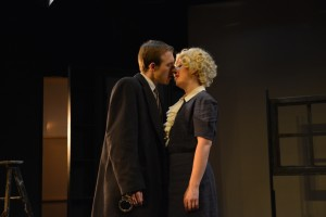 Grayson Owen (left) as Richard Hannay and Ann Turiano (right) as Pamela in The 39 Steps