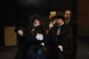 Holly Elizabeth Gibbs (front left), Steven Shriner (front right) with Ann Turiano (back left) and Grayson Owen (back right) in The 39 Steps