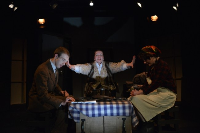 Grayson Owen (left) Holly Elizabeth Gibbs (center) and Ann Turiano (right) in The 39 Steps