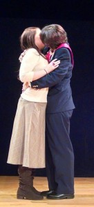 Grace Baker (left) as Helena and Charlie Green (right) as Bertram in All's Well That Ends Well