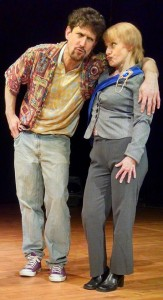 Josh Engel (left) as Clown and Sam David (right) as Lafeu in All's Well That Ends Well