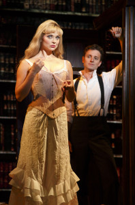 "Kristen Beth Williams as Sibella Hallward and Kevin Massey as Monty Navarro in a scene from ""A Gentleman's Guide to Love & Murder."""