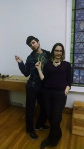 Actors Matthew Payne (left) and Caitlin Carbone (right) rehearsing for Twelfth Night