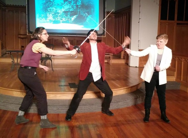 Sir Andrew Aguecheek (L- Caitlin Carbone) Sir Toby (C- Matthew Payne) and Cesario (R- Logan Davidson) in Twelfth Night