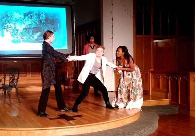 (L to R) Jane Jongeward as Duke Orsino, Logan Davidson as Cesario, and Lilian Oben as Olivia with Dana Woodson (background) as Antonio in Twelfth Night