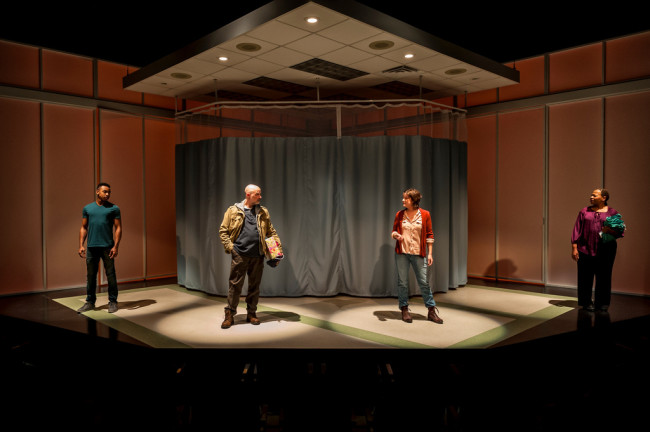 (L to R) Keith L. Royal Smith, Mitchell Hebert, Megan Anderson, and Alice M. Gatling in Under the Skin at Everyman Theatre