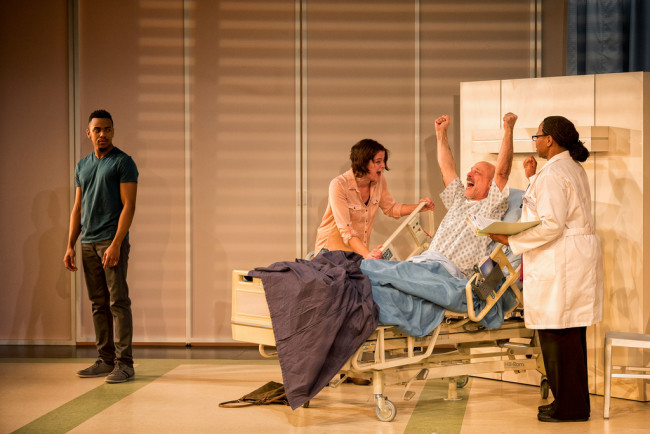 (L to R) Keith L. Royal Smith, Megan Anderson, Mitchell Hebert, and Alice M. Gatling in Under the Skin at Everyman Theatre